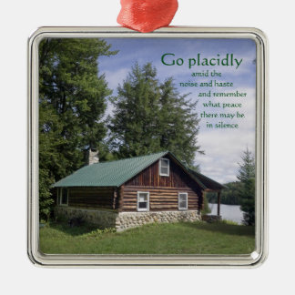Log Cabin with Poetry Metal Ornament