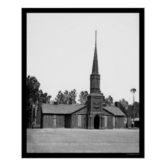 Log Church in Poplar Grove, VA 1865 Posters