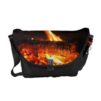 Log Fire Messenger Bag