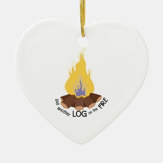 Log On The Fire Ceramic Ornament