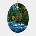 Logan Canyon River Double-Sided Oval Ceramic Christmas Ornament