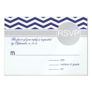 Logan & Derek RSVP   navy grey METALLIC ICE PAPER Card