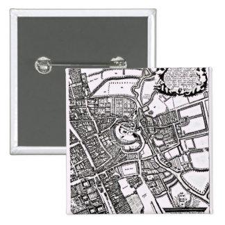 Loggan's map of Oxford, Western Sheet Pinback Button