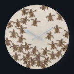 """Loggerhead Sea Turtle Hatchlings Wall Clock<br><div class=""""desc"""">The clock&#39;s design features several loggerhead sea turtle hatchlings scurrying to the sea after emerging from their nest. The illustration is by artist Dawn Witherington.</div>"""