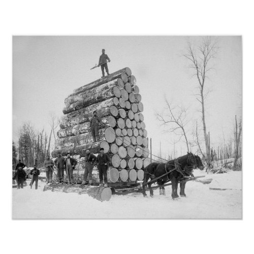 Loggers At Work 1890 Vintage Photo Poster