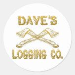 Logging Company de Dave Etiquetas Redondas
