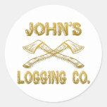Logging Company de John's Pegatina Redonda