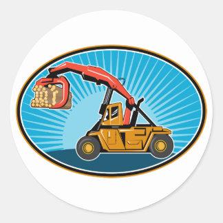 Logging forklift hoist truck classic round sticker