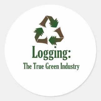 Logging: Green Industry Classic Round Sticker