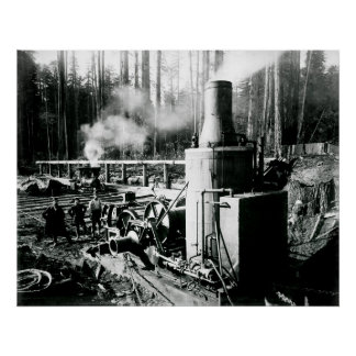 LOGGING in the STEAM AGE  1893 Poster