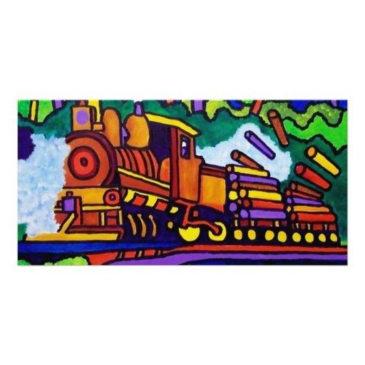 Logging Train Customized Photo Card