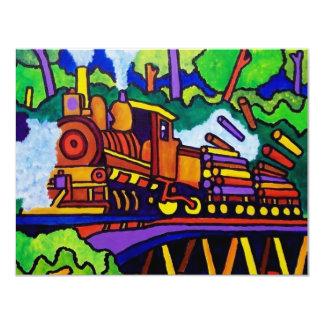 """Logging Train 4.25"""" X 5.5"""" Invitation Card"""