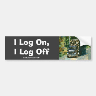 LOGGING TRUCK BIG RIG FUNNY TRUCKER Bumper Sticker