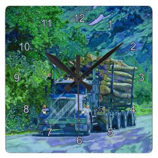 Logging Truck Lumber Haulage Wall Clock
