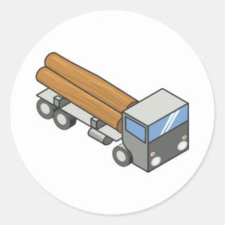 Logging truck round sticker