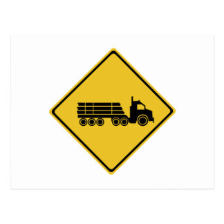 Logging Truck Warning, Traffic Warning Sign, AU Postcard