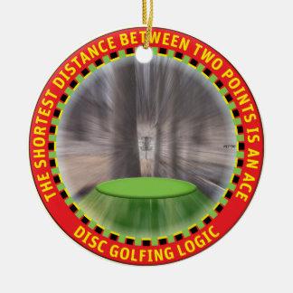 Lógica #1 del golf del disco adorno navideño redondo de cerámica