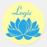 Lógica del flor de Lotus azul Pegatina Redonda