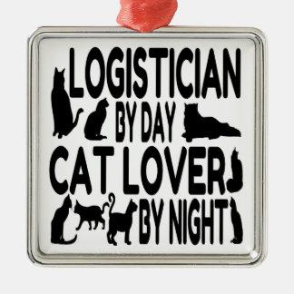Lógico del amante del gato adorno navideño cuadrado de metal