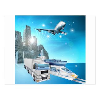 Logistics city concept postcard