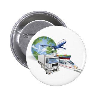 Logistics concept airplane truck train cargo ship button