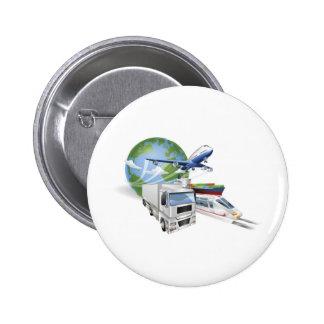 Logistics concept airplane truck train cargo ship pinback button