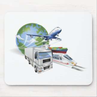 Logistics concept airplane truck train cargo ship mouse pads