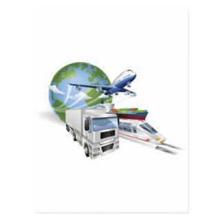 Logistics concept airplane truck train cargo ship postcard