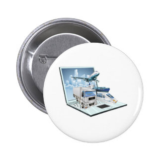 Logistics laptop computer concept pinback buttons
