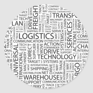 LOGISTICS pattern with words Classic Round Sticker
