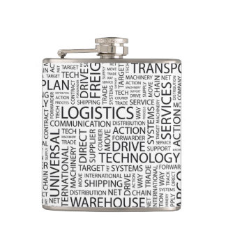 LOGISTICS pattern with words Hip Flask