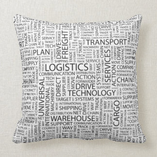 LOGISTICS pattern with words Throw Pillow