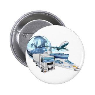 Logistics transport globe concept pinback button