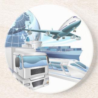 Logistics transport globe concept drink coaster