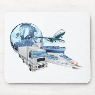 Logistics transport globe concept mousemat