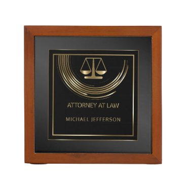 Logo Attorney At Law Black And Gold Desk Organizer