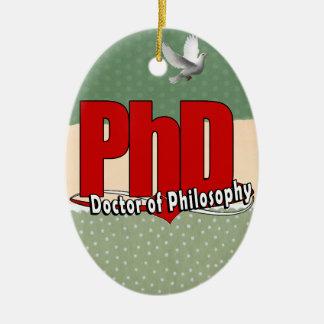 LOGO BIG RED PhD DOCTOR OF PHILOSOPHY Ceramic Ornament