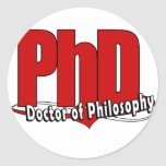 LOGO BIG RED PhD DOCTOR OF PHILOSOPHY Classic Round Sticker