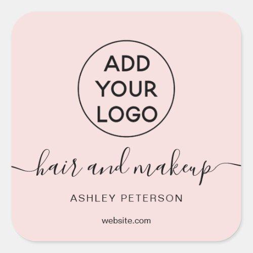 Logo black white simple pastel pink hair makeup square sticker
