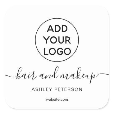 Logo black white simple typography hair makeup square sticker