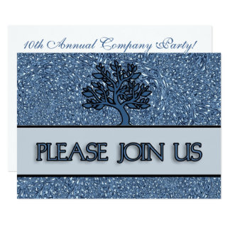 Logo Blue Paisley Business Anniversary Party Card