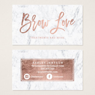 Logo brow faux rose gold typography white marble business card