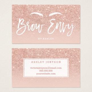 Logo brows elegant typography blush rose gold 2 business card