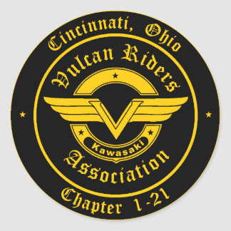Logo - Cincinnati Vulcan Riders Classic Round Sticker
