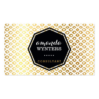 LOGO cool rustic pattern gold foil emblem octagon Double-Sided Standard Business Cards (Pack Of 100)