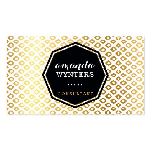 LOGO cool rustic pattern gold foil emblem octagon Business Cards