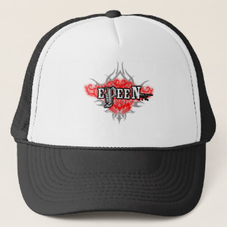 Logo Design Red and Silver Trucker Hat