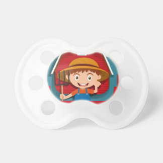 Logo design with farmer and barn pacifier