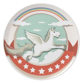 Logo design with Pegasus flying Melamine Plate