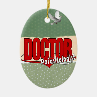 LOGO DOCTOR PARASITOLOGIST Double-Sided OVAL CERAMIC CHRISTMAS ORNAMENT